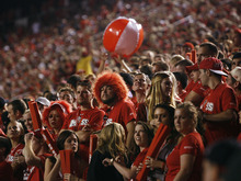 Scott Sommerdorf  |  The Salt Lake Tribune              Utah fans toss around a beach ball during a long, first-half TV timeout during the game against BYU on Sept. 15, 2012.