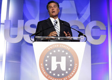 Republican presidential candidate and former Massachusetts Gov. Mitt Romney addresses the U.S. Hispanic Chamber of Commerce in Los Angeles, Monday, Sept. 17, 2012. (AP Photo/Charles Dharapak)