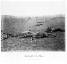 Dead Federal soldiers on battlefield at Gettysburg, Pennsylvania. (July 7, 1863) Courtesy of Library of Congress