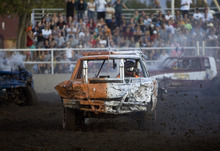 Kim Raff    The Salt Lake Tribune Ryan Sweet, driving #57, competes in a heat at the Demolition Derby on the last day of the Utah State Fair in Salt Lake City on Sept. 16, 2012.