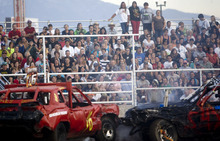 Kim Raff    The Salt Lake Tribune A sold-out crowd watches the Demolition Derby on the last day of the Utah State Fair in Salt Lake City on Sept. 16, 2012.
