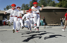 Scott Sommerdorf  l  The Salt Lake Tribune The Basque dancing group called Utako Triskalariak dances at the Carmelite Fair at the Carmelite Monastery in Holladay, Sunday, September 19, 2010.