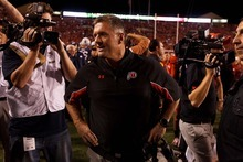 Trent Nelson  |  The Salt Lake Tribune Utah head coach Kyle Whittingham reacts to game officials giving BYU one more kick for the win as Utah hosts BYU college football in Salt Lake City, Utah, Saturday, September 15, 2012.