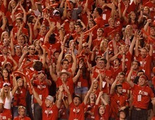 Trent Nelson  |  The Salt Lake Tribune Utah fans cheer after their team took a 7-0 lead in the first quarter against BYU on Saturday, Sept. 15, 2012.