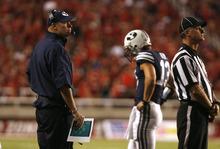 Scott Sommerdorf  |  The Salt Lake Tribune              BYU coach Bronco Mendenhall during the Ute's third quarter surge. Utah led BYU 24-7 at the end of the third quarter, Saturday, September 15, 2012.