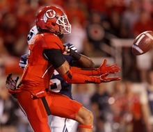 Trent Nelson  |  The Salt Lake Tribune Utah wide receiver Dres Anderson (6) pulls in a third-quarter touchdown pass against BYU  in Salt Lake City on Saturday, Sept. 15, 2012.