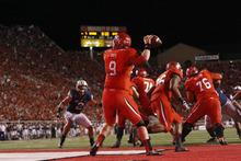 Chris Detrick  |  The Salt Lake Tribune Utes quarterback Jon Hays throws the ball during the first half  against BYU at Rice-Eccles Stadium on Saturday, Sept. 15, 2012.