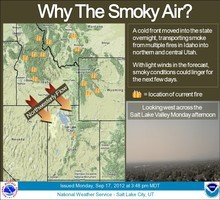 The National Weather Service says a cold front that moved into Utah Sunday night brought smoke from wildfires in Idaho. Murky skies could persist for a couple days. Courtesy image