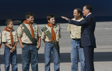 Francisco Kjolseth  |  The Salt Lake Tribune Republican presidential candidate Mitt Romney meets with Salt Lake Boy Scout troop 315 as he arrives in Utah for a pair of fundraisers on Tuesday, September 18, 2012, in what is expected to be his last stop in the state before the November election.