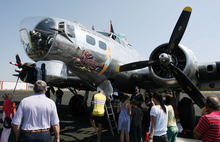 Steve Griffin | The Salt Lake Tribune    People get tours of the WWII B-17G bomber,