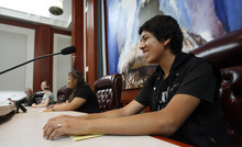 Francisco Kjolseth  |  The Salt Lake Tribune West High student Bryant Vazquez, 16, is one of three getting a chance to sit and play the role of supreme court justice as he listens to arguments being made by fellow classmates on a case.  The group was participating in Constitution Day celebrations at the Matheson Courthouse on Monday, September 17, 2012, to honor the day 39 of the 55 founding fathers signed the Constitution of the United States marking the 225th anniversary.