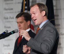 Al Hartmann  |  The Salt Lake Tribune Candidates for Salt Lake County mayor,  Mark Crockett, left,  and Ben McAdams debate at the Utah League of Cities and Towns annual conference Sept. 14.