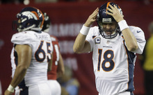 Denver Broncos quarterback Peyton Manning (18) reacts after being sacked by the Atlanta Falcons during the first half of an NFL football game, Monday, Sept. 17, 2012, in Atlanta. (AP Photo/John Bazemore)