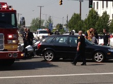 Trent Nelson | The Salt Lake Tribune Two police officers on motorcycles were reportedly involved in a traffic accident Tuesday afternoon at 400 South and 400 West in Salt Lake City.