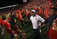 Scott Sommerdorf  |  The Salt Lake Tribune              Utah cornerbacks coach Sharrieff Shah looks bewildered as the fans are ushered off the field for a second time after penalties on BYU's last play was called giving them another chance at a FG. Utah defeated BYU 24-21, Saturday, September 15, 2012.