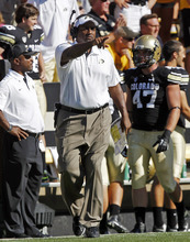 File--In Saturday, Sept. 8, 2012, file photo, Colorado head coach Jon Embree directs his team against Sacramento State in the fourth quarter of an NCAA college football game against Sacramento State in Denver. Embree is facing a chorus of jeers from fans after the Golden Buffaloes lost the opening three games of their 2012 season. (AP Photo/David Zalubowski, File)