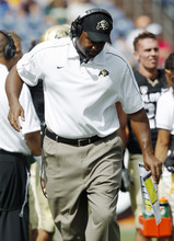 FILE - In this Saturday, Sept. 1, 2012, fil ephoto, Colorado head coach Jon Embree reacts to a call during the second quarter of an NCAA college football game against Colorado State in Denver. Embree is facing a chorus of jeers from fans after the Golden Buffaloes lost the opening three games of their 2012 season. (AP Photo/David Zalubowski, File)
