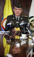 Gen. Jose Roberto Leon, Dir. of the Colombian National Police, during a news conference announcing the arrest of alleged drug-lord Daniel Barrera, at the Colombia Embassy in Washington, Wednesday, Sept. 19, 2012. Venezuelan Authorities captured Barrera in San Cristobal near the border with Colombia and extradition back to Colombia is being arranged. (AP Photo/Pablo Martinez Monsivais)
