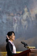 Myanmar democracy leader Aung San Suu Kyi speaks after being awarded the Congressional Gold Medal at the U.S. Capitol in Washington, Wednesday, Sept. 19, 2012. (AP Photo/Jacquelyn Martin)
