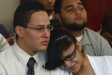 Leah Hogsten  |  The Salt Lake Tribune Esteban Saidi's brother Erick Saidi (left) and sister weep in court as they listen to Ricky Angilau as he expresses his remorse for killing their brother. Ricky Angilau, who was 16-years-old when he fired into a crowd during a fight, killing an onlooker, was sentenced to up to 5 years in prison before 3rd District Judge William Barrett on Tuesday, September 18, 2012. Angilau was charged as a juvenile for shooting and killing a Kearns High classmate, 16-year-old Esteban Saidi, on Jan. 21, 2009. who was