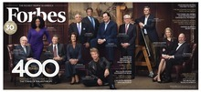(AP Photo/Forbes, Michael Prince) The Forbes pull-out cover from the magazine's Sept. 21 issue shows from left to right: Warren Buffett, Oprah Winfrey, Bill Gates, Melinda Gates, Pete Petersen, Leon Black, Jon Bon Jovi (seated on the ground), Marc Benioff, David Rubenstein, Steve Case, Laura Arrillaga-Andreessen and Marc Andreessen. The twelve were part of a group attending an event called the Forbes 400 Summit On Philanthropy.