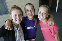 Scott Sommerdorf  |  The Salt Lake Tribune              Ireland Dunn, center, a freshman on the Davis girls soccer team is having a terrific season as one of the leading scorers on the team. She is playing with her sister, Chelsea, right, who is a senior, and her other sister, Destiny, left, who is the team manager.