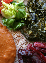 Leah Hogsten  |  The Salt Lake Tribune The vegetable combo at State Street's Blue Nile Ethiopian restaurant.