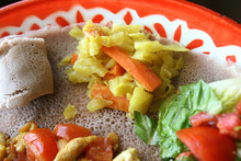 Leah Hogsten  |  The Salt Lake Tribune The vegetable combo at State Street's Blue Nile Restaurant, which serves Ethiopian cuisine.