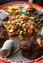 Leah Hogsten  |  The Salt Lake Tribune The meat combo dish at Blue Nile Restaurant.