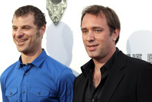 Matt Stone, left, and Trey Parker attend the West Coast premiere of