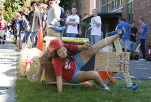 Paul Fraughton | The Salt Lake Tribune Isabel Torres, a Rowland Hall sophomore, loses control of her team's gravity car as she attempts to make the turn at the bottom of the hay bale lined course. The cars, built by the students earlier in the day, were part of a science lesson dealing with potential and kinetic energy. The event was part of the school's