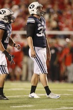 Chris Detrick  |  The Salt Lake Tribune BYU kicker Justin Sorensen misses a field goal attempt during the first half of the game against Utah at Rice-Eccles Stadium on Saturday, Sept. 15, 2012.