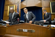 House Oversight Committee Chairman Darrell Issa, R-Calif., right, joined by Rep. Elijah Cummings, D-Md., left, the ranking member, to hear from Inspector General Michael Horowitz, the Justice Department's internal watchdog, the day after he issued a report faulting the department for disregard of public safety in