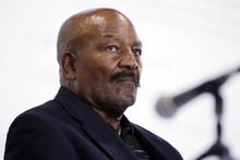 FILE - In this Sept. 8, 2011, file photo, pro football hall-of-famer Jim Brown listens during a panel discussion at the Sports Law Symposium at Santa Clara University in Santa Clara, Calif. Jim Brown and the Cleveland Browns are getting back together. The Hall of Fame running back, who has had a rift with his former team for several years, plans to take part in alumni events this weekend when the Browns host the Buffalo Bills on Sunday, Sept. 23, 2012.(AP Photo/Paul Sakuma, File)