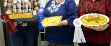 Kim Raff | The Salt Lake Tribune The winners in the Funeral Potato Contest at the Utah State Fair include (from left): Gina Varni, second, Laurie Willberg, first, and Nancy Judd, third.