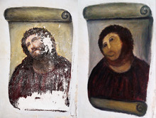 File - In this combination of two undated handout photos made available by the Centro de Estudios Borjanos,  the 20th century Ecce Homo-style fresco of Christ , left and the 'restored' version, at right. Only a month has gone by since an 80-year-old artist won global infamy for botching a restoration of a fresco of Christ in a little-known Spanish town, but it took even less time for Internet entrepreneurs to start copying her image compared to a monkey's head to sell everything from T-shirts to cellphone covers and wine. Now a mortified Cecilia Gimenez has lawyers researching her intellectual property rights, and could demand a cut of profits to benefit charity for her amazingly popular disfiguration of the fresco from the genre known as