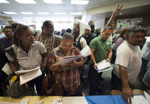 (AP Photo/Damian Dovarganes, File) The unemployment rate comes from a survey of households and is calculated by dividing the number of unemployed people by the size of the labor force. In July, more people said they were unemployed, while the size of the labor force shrank even more.