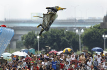 A participant dressed in a bird costume takes a flight during the Taiwan Birdman Competition in New Taipei City, Taiwan, Saturday, Sept. 22, 2012. Sixty teams and 280 competitors were registered for the human-powered flight competition. (AP Photo/Wally Santana)