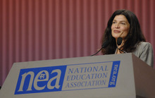 Lily Eskelsen -- an elementary school teacher from Utah, former president of the Utah Education Association and one-time congressional candidate -- is  vice president of the National Education Association. In this 2008 AP photo,  Eskelsen delivers her acceptance speech before nearly 10,000 delegates  at NEA's 146th Annual Meeting in Washington, D.C.  Courtesy of the National  Education Association.
