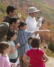 Leah Hogsten  |  The Salt Lake Tribune l-r Chad Smith, Mike Pittman and Todd Smith and their children enjoy Raptor Watch Day. The Division of Wildlife Resources will released three rehabilitated turkey vultures during its annual Raptor Watch Day Saturday. September 22, 2012 atop Squaw Peak Trail in Orem.