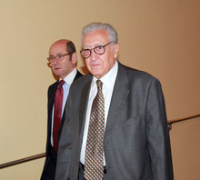 Lakhdar Brahimi, right, joint special representative for Syria, arrives at closed door consultations regarding the situation in Syria at the Security Council at United Nations headquarters Monday, Sept.  24,  2012.  (AP Photo/David Karp)