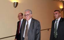 Lakhdar Brahimi, center, joint special representative for Syria, arrives at closed door consultations regarding the situation in Syria at the Security Council at United Nations headquarters Monday, Sept.  24,  2012.  (AP Photo/David Karp)