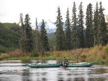 Mike Overcast, operations director of Tordrillo Mountain Lodge in Alaska, brings along the rafts as angler sply the waters of Talachulitna Creek. | Brett Prettyman/The Salt Lake Tribune