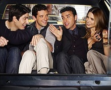 """CBS has released a sneak peek of the key art designs for the Network's four new series, including the comedy series PARTNERS, about two life-long best friends and business partners in New York City whose """"bromance"""" is tested when one of them is engaged to be married. David Krumholtz plays Joe, an architect who is newly engaged to Ali (Sophia Bush), a jewelry designer, and Michael Urie plays Louis, Joe's gay friend/co-worker who is dating Wyatt (Brandon Routh), a nurse. The print design features (left to right) Routh, Urie, Krumholtz and Bush. The copy reads: Four Friends. Three Couples."""
