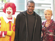 Brian T. Smith  |  The Salt Lake Tribune Paul Millsap with Ronald McDonald and KUTV anchor Mary Nickles. Millsap was interviewed live on KUTV as part of a televised fundraiser for Ronald McDonald House Charities.