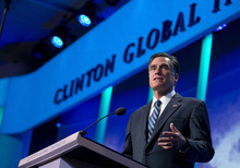 Republican presidential candidate, former Massachusetts Gov. Mitt Romney speaks at the Clinton Global Initiative convention in New York, Tuesday, Sept. 25, 2012.  (AP Photo/ Evan Vucci)