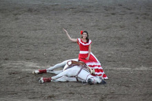 Photo courtesy of Fiesta Mexicana The Fiesta Mexicana at this month's Utah State Fair will feature a performance by Escaramuzas Charra La Potosina, whose exhibition of traditional Mexican horse skills includes one bit in which a horse is persuaded to roll onto its side to provide a seat for its rider.