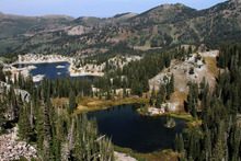 Francisco Kjolseth  |  The Salt Lake Tribune A dispute has been brewing between Salt Lake City and a mining company that claims it owns lands east of Lake Mary, at left, and beneath Martha Lake in the hills above Brighton Resort in Big Cottonwood Canyon.