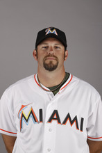 This is a 2012 photo of Heath Bell of the Miami Marlins baseball team. This image reflects the Marlins active roster as of  Monday, Feb. 27, 2012, when this image was taken. (AP Photo/Jeff Roberson)