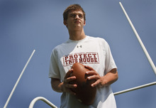 Leah Hogsten  |  The Salt Lake Tribune Baron Gajkowski was nearly a Jordan High School hero in last year's playoffs by beating Lone Peak. Now he's a Lone Peak High star, playing for the Knights, Thursday, September 20, 2012.